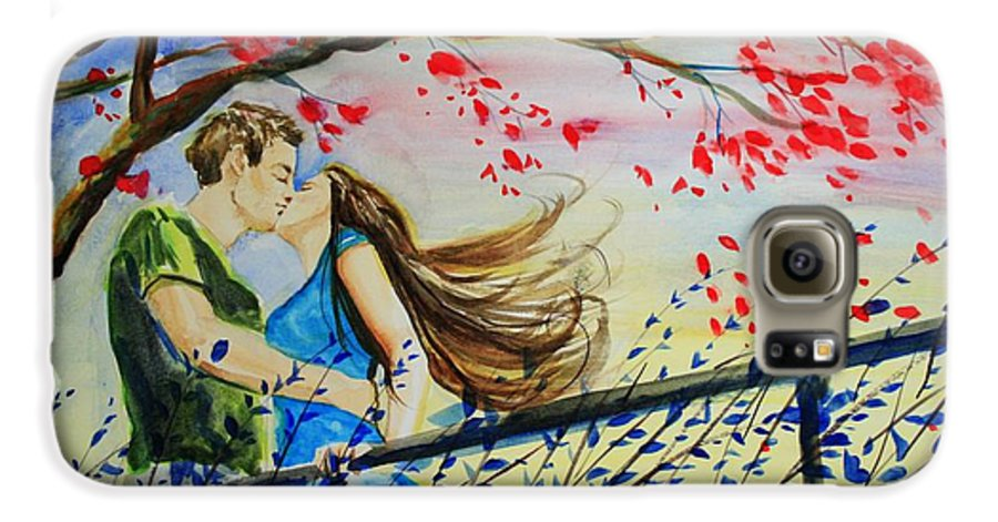 Wind Galaxy S6 Case featuring the painting Windy Kiss by Laura Rispoli