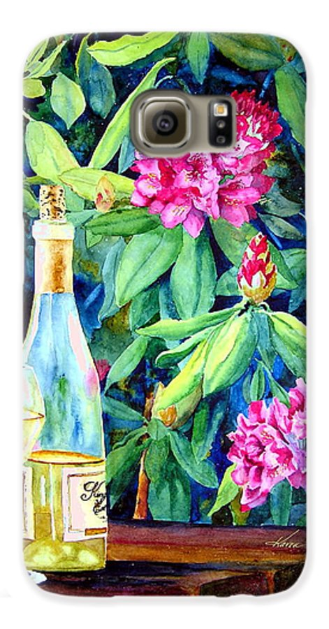 Rhododendron Galaxy S6 Case featuring the painting Wine And Rhodies by Karen Stark