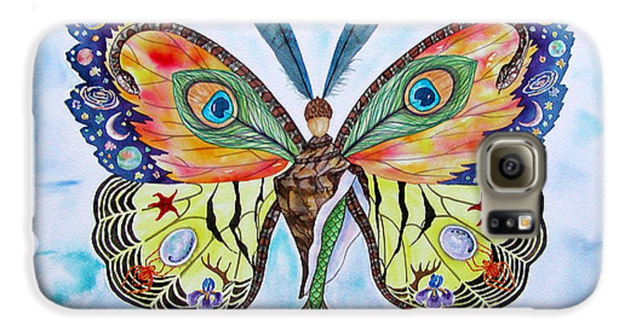 Butterfly Galaxy S6 Case featuring the painting Winged Metamorphosis by Lucy Arnold