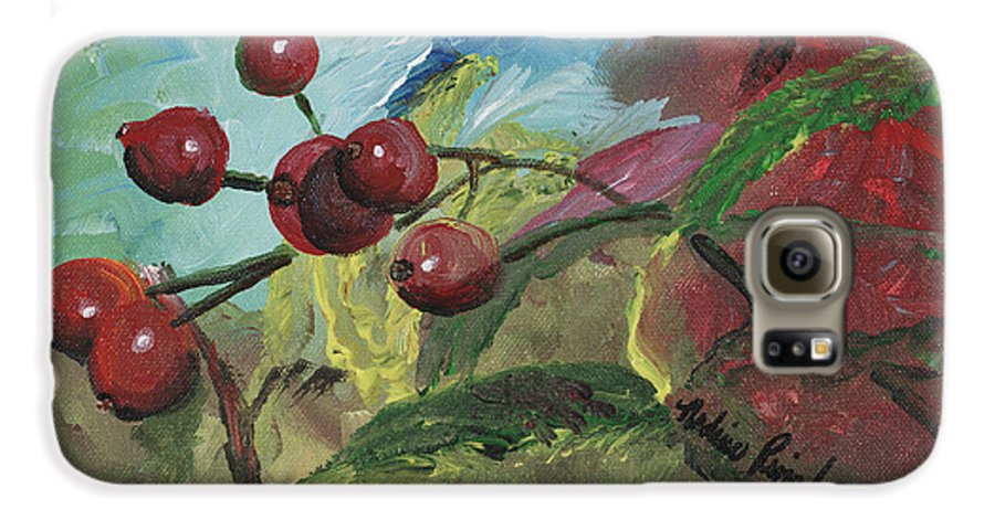 Berries Galaxy S6 Case featuring the painting Winter Berries by Nadine Rippelmeyer