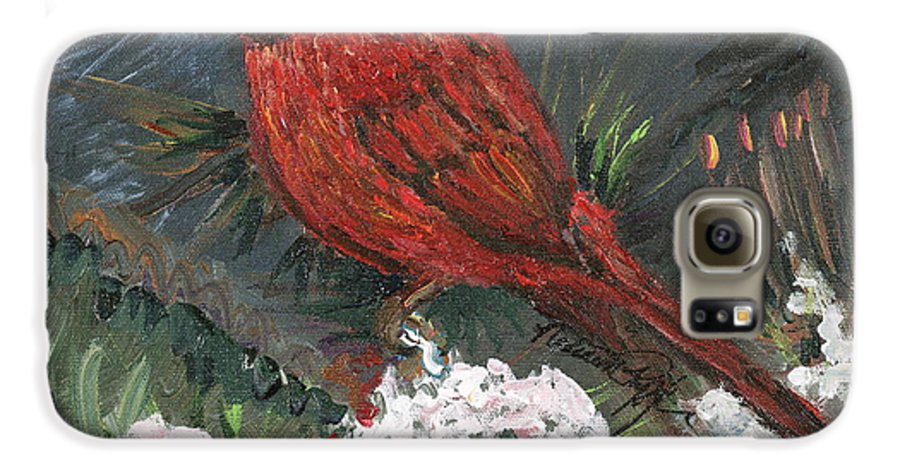 Bird Galaxy S6 Case featuring the painting Winter Cardinal by Nadine Rippelmeyer