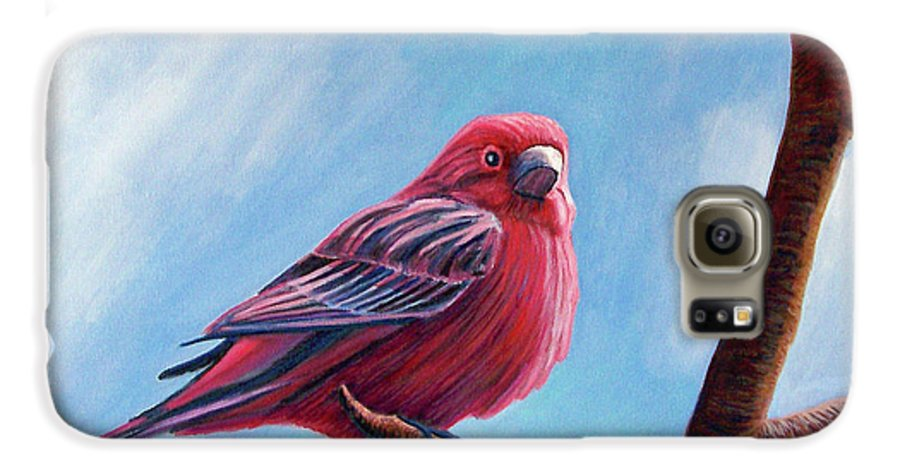 Bird Galaxy S6 Case featuring the painting Winter Finch by Brian Commerford