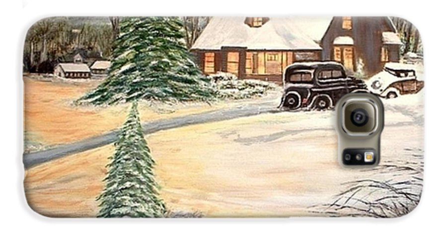 Landscape Home Trees Church Winter Galaxy S6 Case featuring the painting Winter Home by Kenneth LePoidevin