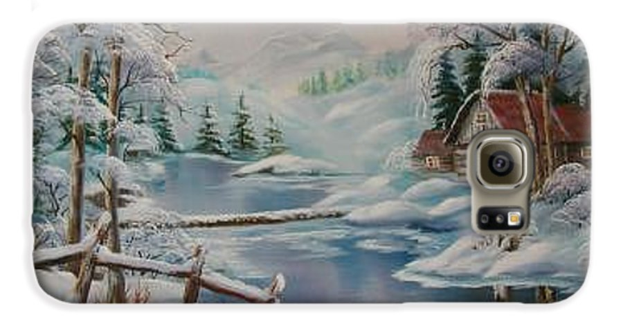 Winter Scapes Galaxy S6 Case featuring the painting Winter In The Valley by Irene Clarke