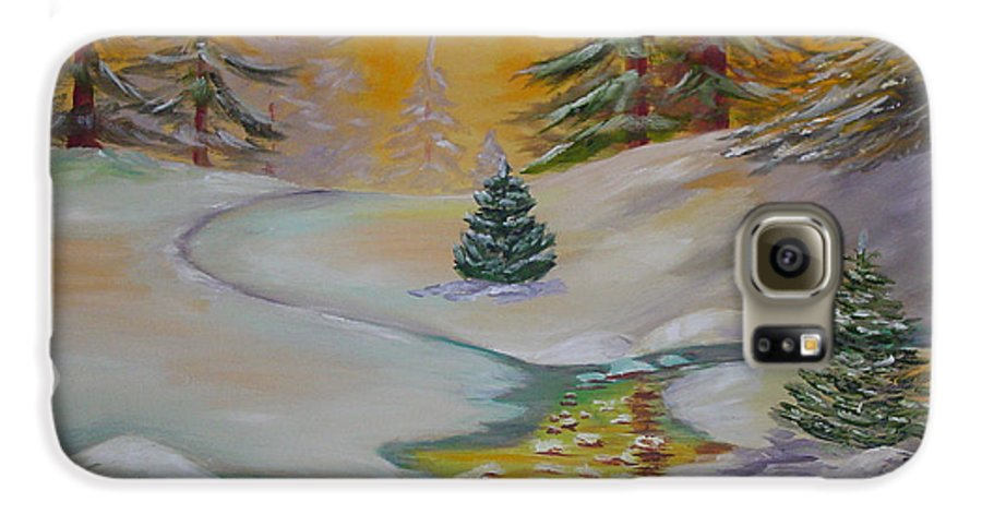 Winter Galaxy S6 Case featuring the painting Winter by Quwatha Valentine