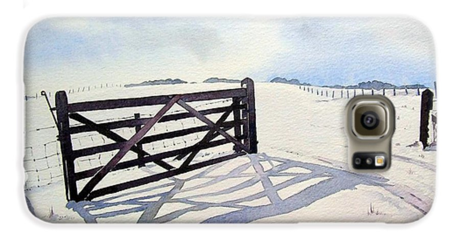 Landscape Galaxy S6 Case featuring the painting Winter Scene With Gate by Paul Dene Marlor
