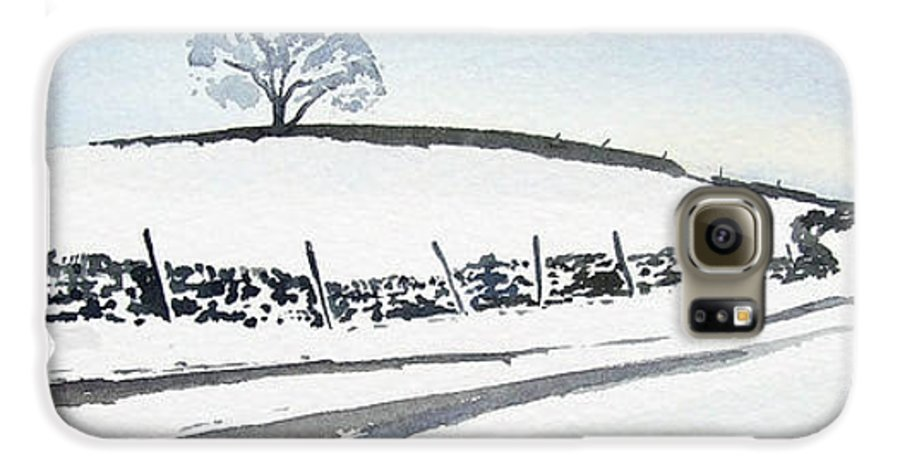 Snowscene In The Yorkshire Dales Galaxy S6 Case featuring the painting Winter Snow In The Dales by Paul Dene Marlor