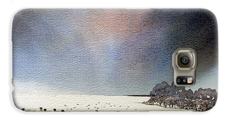 Landscape Galaxy S6 Case featuring the painting Winter Snow Swaledale by Paul Dene Marlor