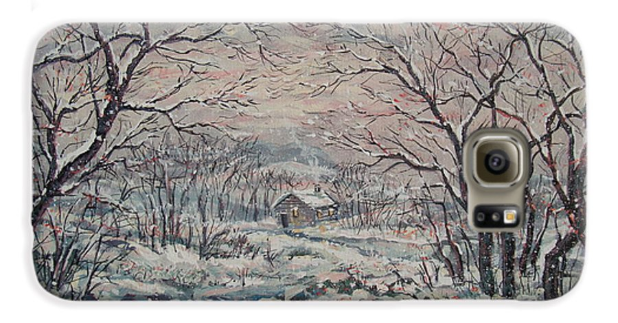 Landscape Galaxy S6 Case featuring the painting Wintery December by Leonard Holland