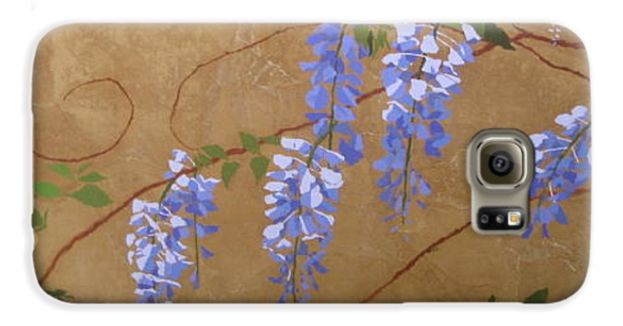 Periwinkle Wisteria Flowers Galaxy S6 Case featuring the painting Wisteria by Leah Tomaino