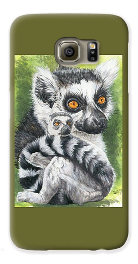 Lemur Galaxy S6 Case featuring the mixed media Wistful by Barbara Keith