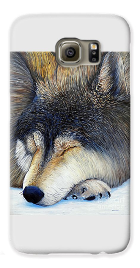 Wolf Galaxy S6 Case featuring the painting Wolf Dreams by Brian Commerford