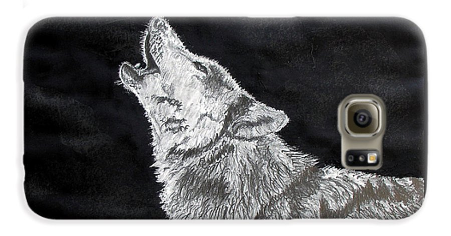 Pencil Galaxy S6 Case featuring the drawing Wolf Howl by Stan Hamilton