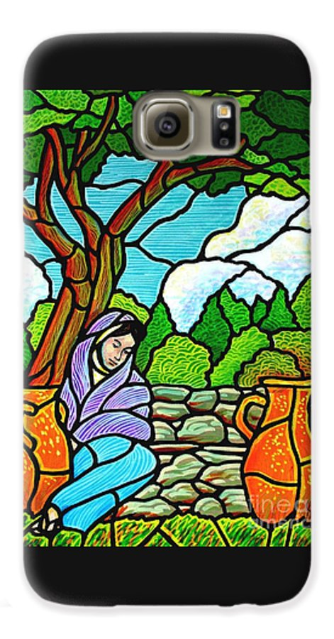 Women Galaxy S6 Case featuring the painting Woman At The Well by Jim Harris