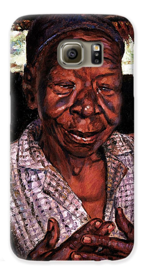 Black Woman Galaxy S6 Case featuring the painting Woman Of Faith by John Lautermilch