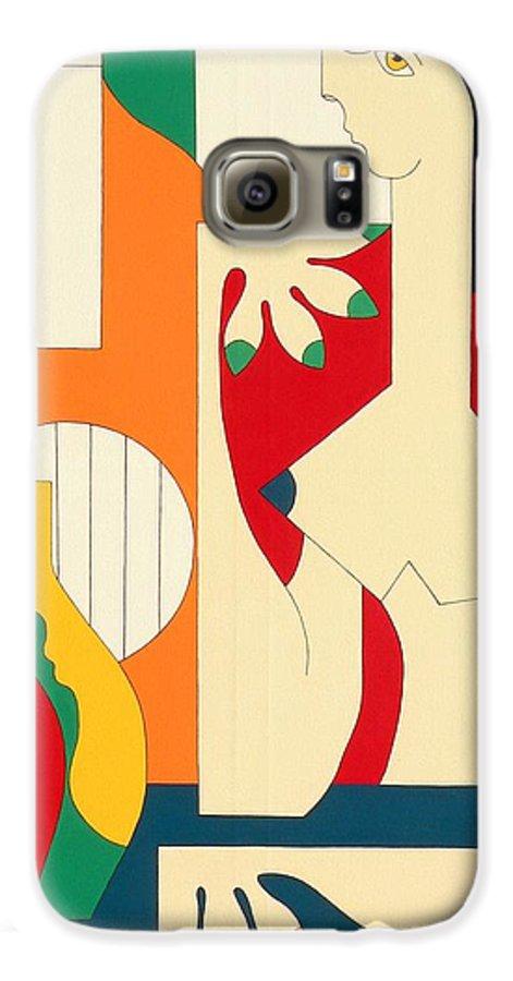 Women Music Modern Green Orange Bleu Gitar Galaxy S6 Case featuring the painting Women And Music by Hildegarde Handsaeme