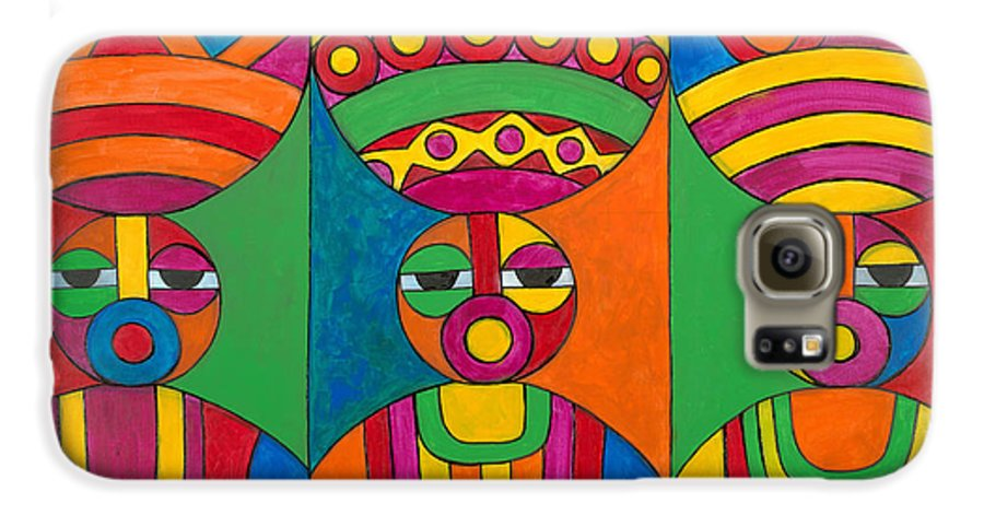 Abstract Galaxy S6 Case featuring the painting Women With Calabashes by Emeka Okoro
