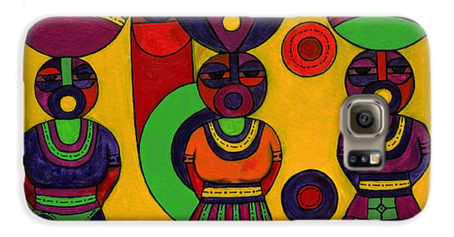 Women Galaxy S6 Case featuring the painting Women With Calabashes II by Emeka Okoro