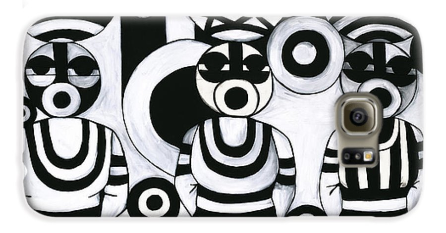 Cubism Galaxy S6 Case featuring the painting Women With Calabashes IIi by Emeka Okoro