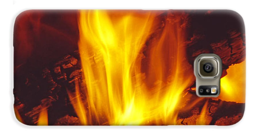 Fire Galaxy S6 Case featuring the photograph Wood Stove - Blazing Log Fire by Steve Ohlsen