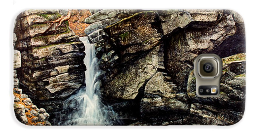 Waterfall Galaxy S6 Case featuring the painting Woodland Falls by Frank Wilson
