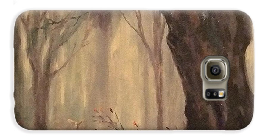 Landscape Galaxy S6 Case featuring the painting Woodland Fawn by Ruth Stromswold