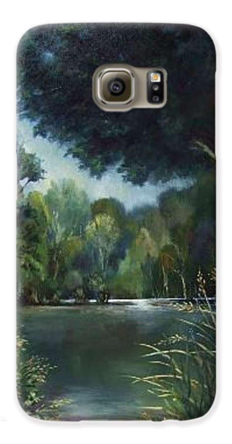 Landscape Woodland Galaxy S6 Case featuring the painting Woodland Pond by Ruth Stromswold