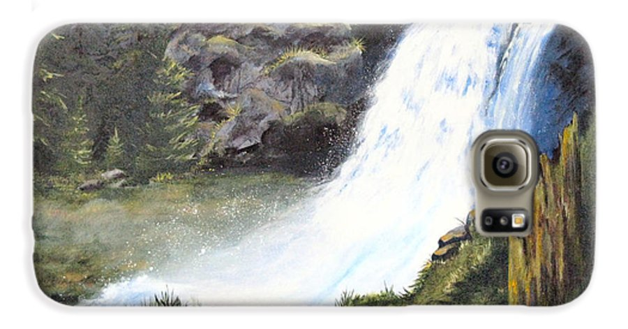 Forest Galaxy S6 Case featuring the painting Woodland Respite by Karen Stark