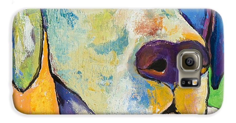 German Shorthair Animalsdog Blue Yellow Acrylic Canvas Galaxy S6 Case featuring the painting Yancy by Pat Saunders-White