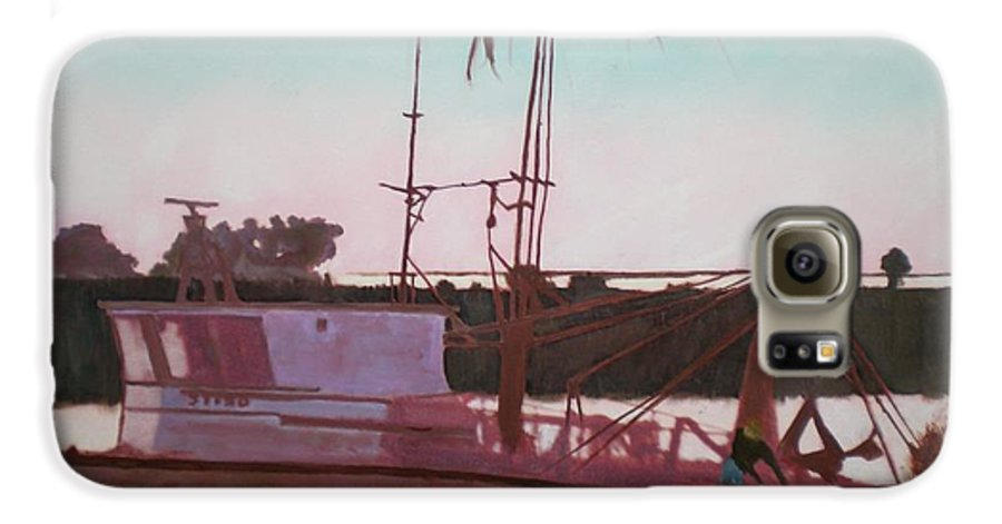 Seascape Galaxy S6 Case featuring the digital art Yankee Town Fishing Boat by Hal Newhouser