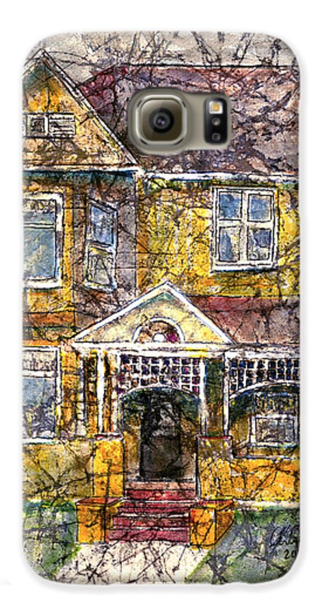 House Galaxy S6 Case featuring the mixed media Yellow Batik House by Arline Wagner
