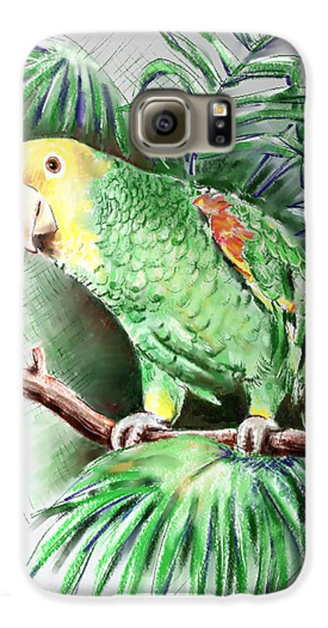 Bird Galaxy S6 Case featuring the digital art Yellow-headed Amazon Parrot by Arline Wagner