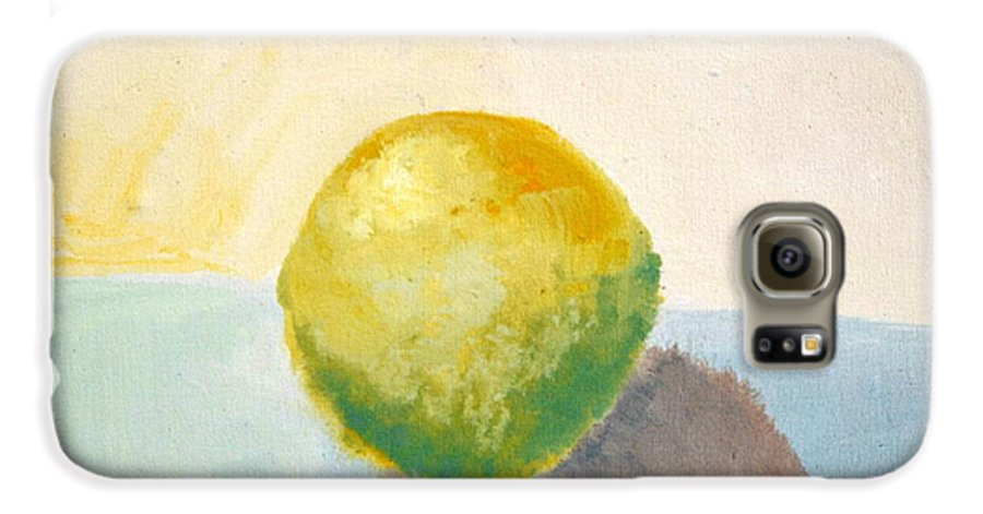 Lemon Galaxy S6 Case featuring the painting Yellow Lemon Still Life by Michelle Calkins