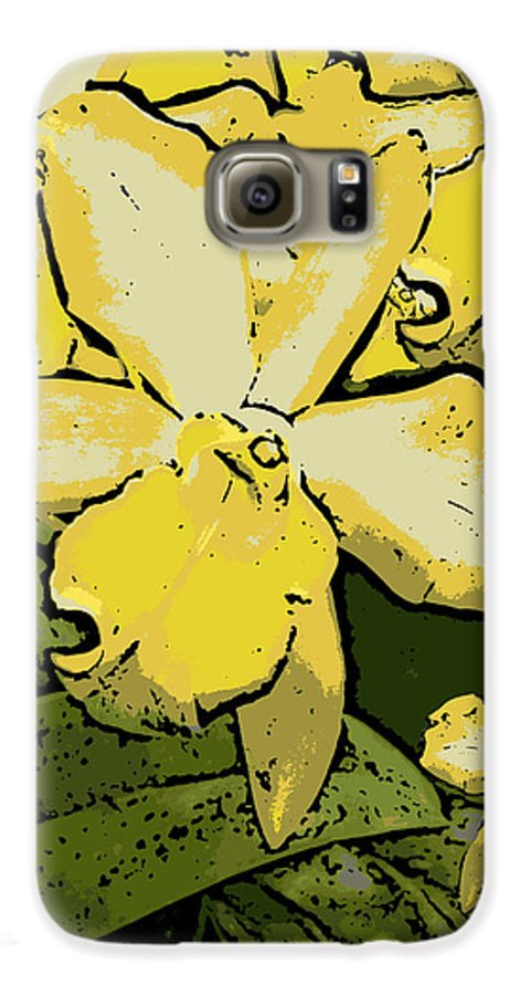 Orchid Galaxy S6 Case featuring the photograph Yellow Orchids Woodcut by Ann Tracy