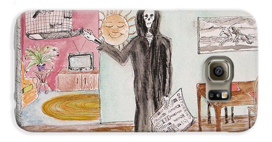 Bird Birdcage Darkestartist Death Home Humor Ink Watercolor Watercolour Darkest Artist Galaxy S6 Case featuring the painting Yesterdays News by Darkest Artist