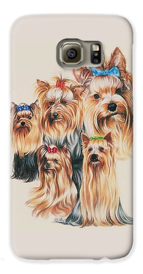 Dog Galaxy S6 Case featuring the drawing Yorkshire Terrier by Barbara Keith