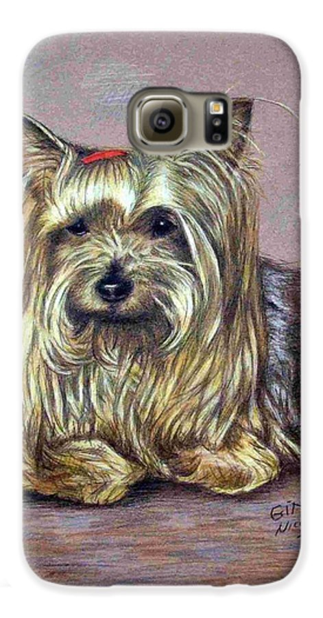Dog Galaxy S6 Case featuring the drawing Yorkshire Terrier by Nicole Zeug