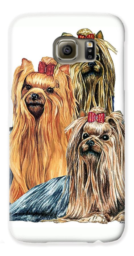 Yorkshire Terrier Galaxy S6 Case featuring the drawing Yorkshire Terriers by Kathleen Sepulveda