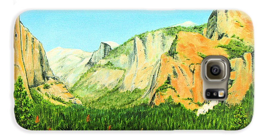 Yosemite National Park Galaxy S6 Case featuring the painting Yosemite National Park by Jerome Stumphauzer