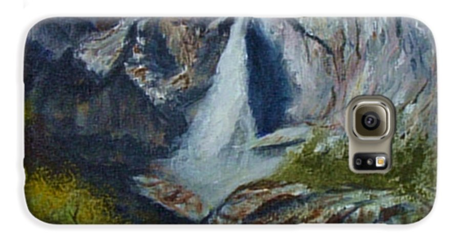 Waterfall Galaxy S6 Case featuring the painting Yosemite Waterfall by Quwatha Valentine