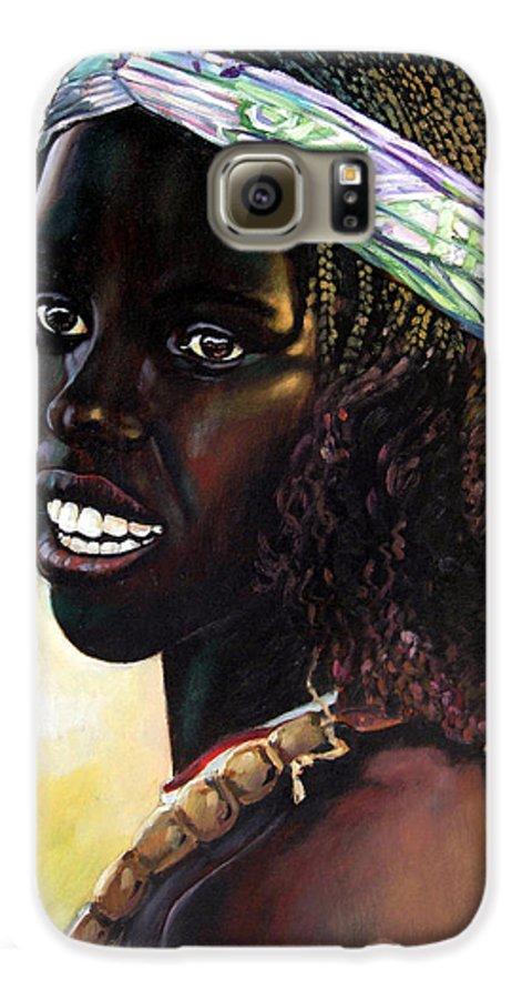 Young Black African Girl Galaxy S6 Case featuring the painting Young Black African Girl by John Lautermilch