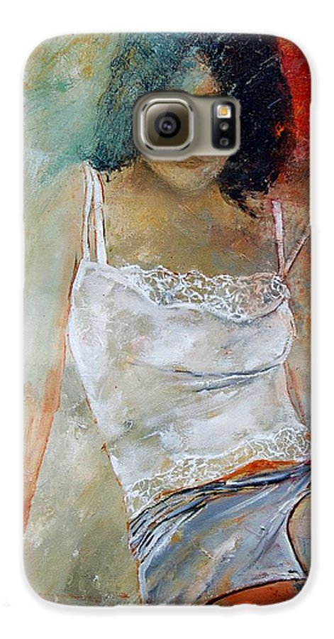 Nude Galaxy S6 Case featuring the painting Young Girl Sitting by Pol Ledent