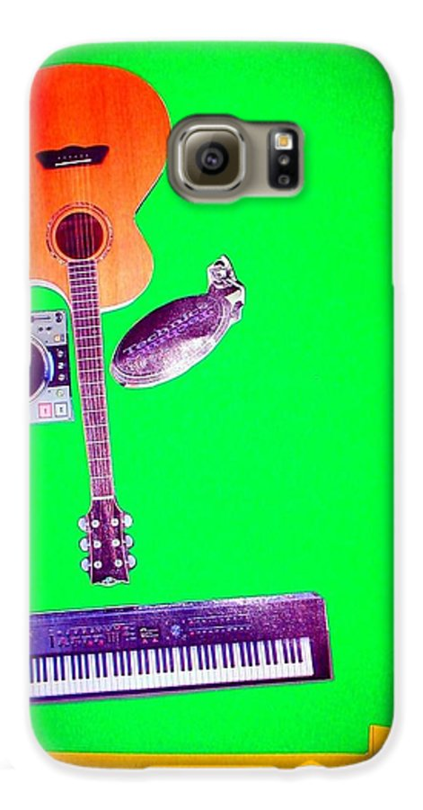 Music Galaxy S6 Case featuring the mixed media Yvie's Music Mask by Debra Bretton Robinson