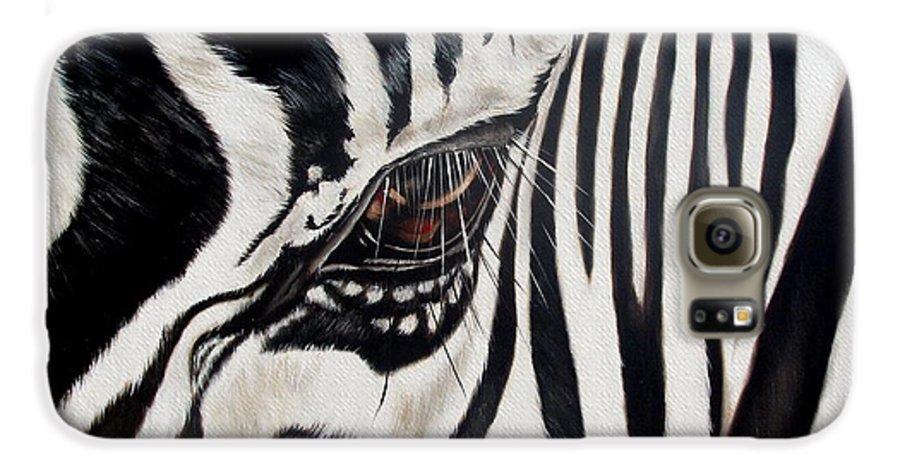 Zebra Galaxy S6 Case featuring the painting Zebra Eye by Ilse Kleyn
