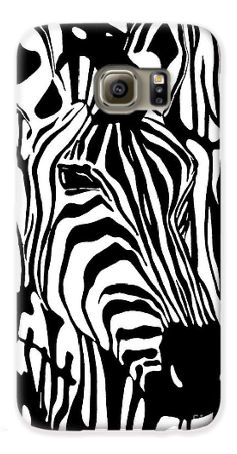 Zebra Galaxy S6 Case featuring the painting Zebra One by Alan Hogan