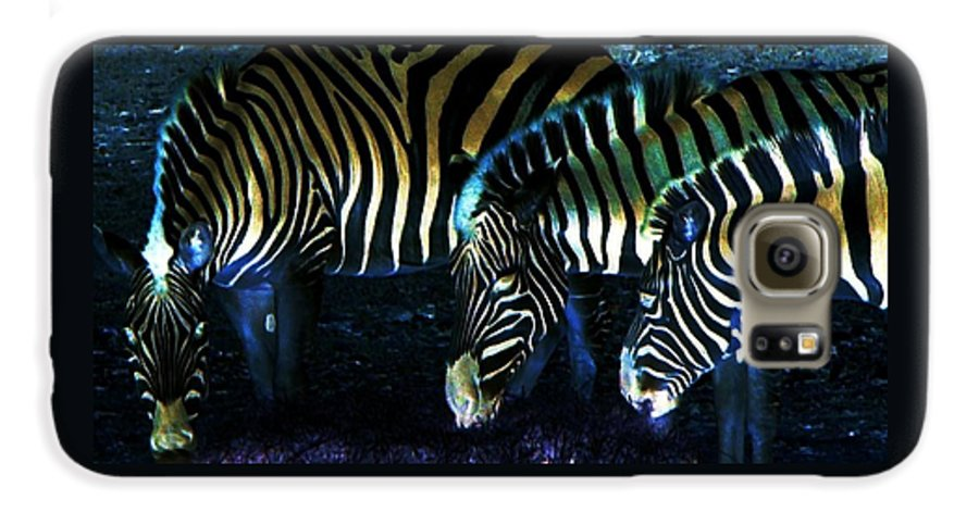 Zebra Galaxy S6 Case featuring the digital art Zebras Glow by Kenna Westerman