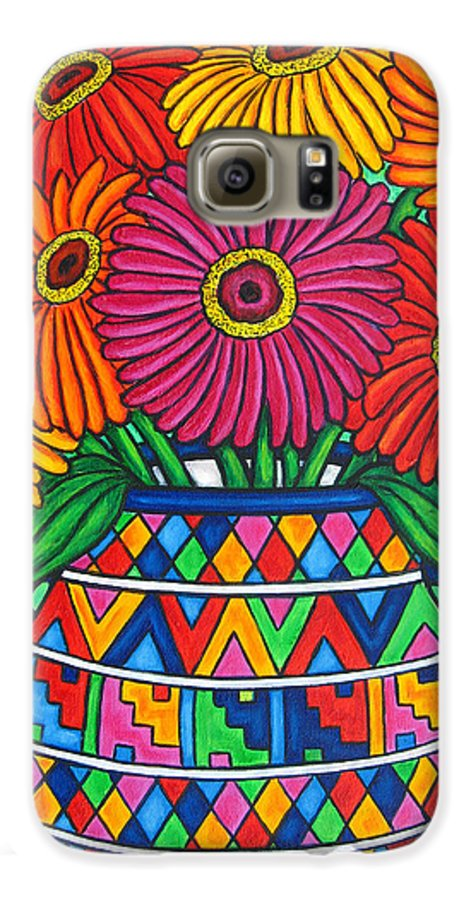 Zinnia Galaxy S6 Case featuring the painting Zinnia Fiesta by Lisa Lorenz