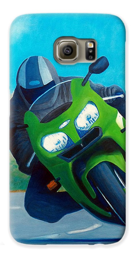 Motorcycle Galaxy S6 Case featuring the painting Zx9 - California Dreaming by Brian Commerford
