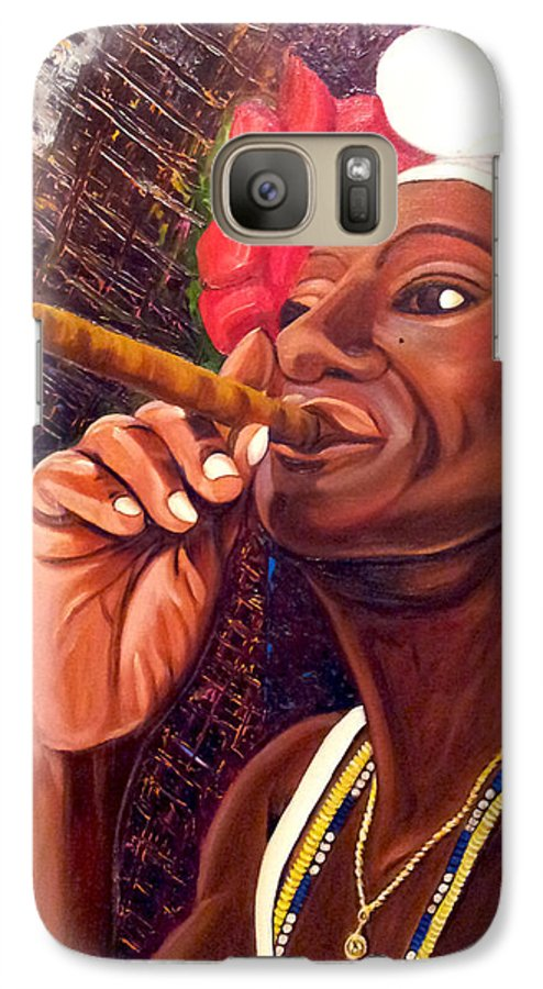 Cuban Art Galaxy S7 Case featuring the painting  Cigar Lady by Jose Manuel Abraham