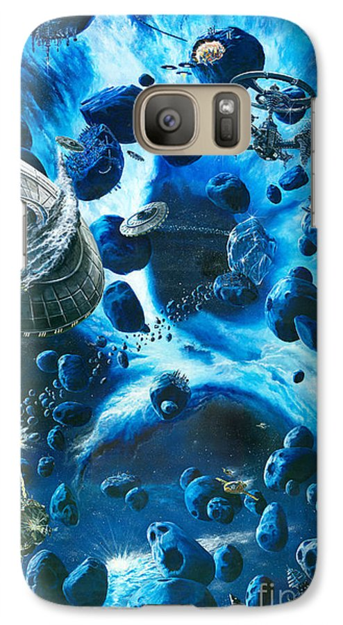 Asteroid Galaxy S7 Case featuring the painting Alien Pirates by Murphy Elliott